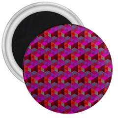 Hexagon Cube Bee Cell  Red Pattern 3  Magnets by Cveti