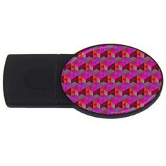 Hexagon Cube Bee Cell  Red Pattern Usb Flash Drive Oval (2 Gb) by Cveti