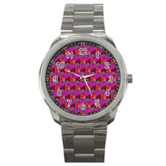 Hexagon Cube Bee Cell  Red Pattern Sport Metal Watch by Cveti