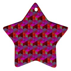 Hexagon Cube Bee Cell  Red Pattern Star Ornament (two Sides) by Cveti