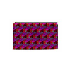 Hexagon Cube Bee Cell  Red Pattern Cosmetic Bag (small)  by Cveti