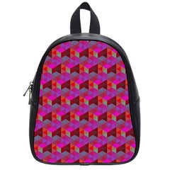Hexagon Cube Bee Cell  Red Pattern School Bag (small) by Cveti