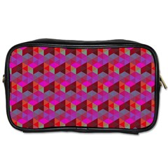 Hexagon Cube Bee Cell  Red Pattern Toiletries Bags 2 Side by Cveti