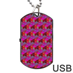 Hexagon Cube Bee Cell  Red Pattern Dog Tag Usb Flash (two Sides) by Cveti