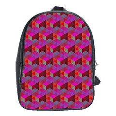 Hexagon-cube-bee Cell- Red Pattern School Bag (xl)