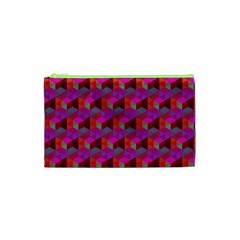 Hexagon Cube Bee Cell  Red Pattern Cosmetic Bag (xs) by Cveti