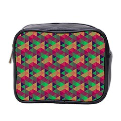 Hexagon Cube Bee Cell Pink Pattern Mini Toiletries Bag 2 Side by Cveti