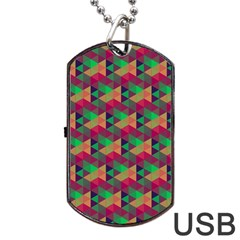 Hexagon Cube Bee Cell Pink Pattern Dog Tag Usb Flash (two Sides) by Cveti