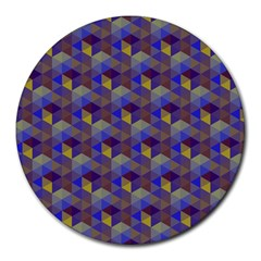 Hexagon-cube-bee Cell Purple Pattern Round Mousepads
