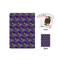 Hexagon Cube Bee Cell Purple Pattern Playing Cards (mini)  by Cveti
