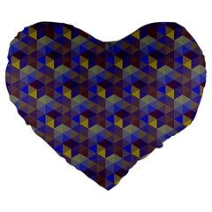 Hexagon Cube Bee Cell Purple Pattern Large 19  Premium Heart Shape Cushions by Cveti
