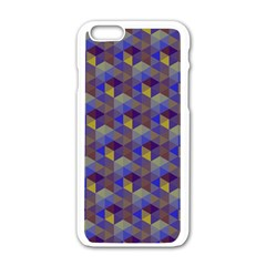 Hexagon Cube Bee Cell Purple Pattern Apple Iphone 6/6s White Enamel Case by Cveti