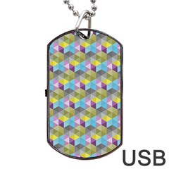 Hexagon Cube Bee Cell 1 Pattern Dog Tag Usb Flash (two Sides) by Cveti