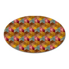 Hexagon Cube Bee Cell 2 Pattern Oval Magnet