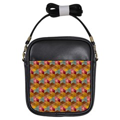 Hexagon Cube Bee Cell 2 Pattern Girls Sling Bags by Cveti