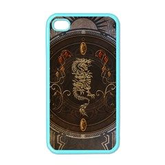 Golden Chinese Dragon On Vintage Background Apple Iphone 4 Case (color) by FantasyWorld7