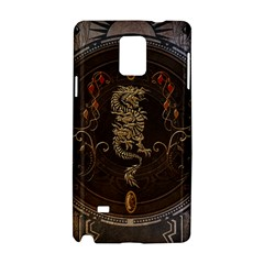 Golden Chinese Dragon On Vintage Background Samsung Galaxy Note 4 Hardshell Case by FantasyWorld7