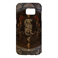 Golden Chinese Dragon On Vintage Background Samsung Galaxy S7 Edge Hardshell Case by FantasyWorld7