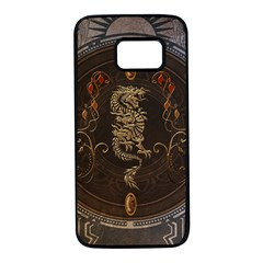 Golden Chinese Dragon On Vintage Background Samsung Galaxy S7 Black Seamless Case by FantasyWorld7