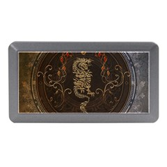 Golden Chinese Dragon On Vintage Background Memory Card Reader (mini) by FantasyWorld7