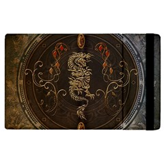 Golden Chinese Dragon On Vintage Background Apple Ipad Pro 9 7   Flip Case by FantasyWorld7