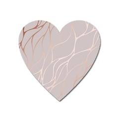 Rose Gold, Wave,beautiful,feminine,chic,elegant,metallic,modren,wedding,pink,trendy Heart Magnet by 8fugoso