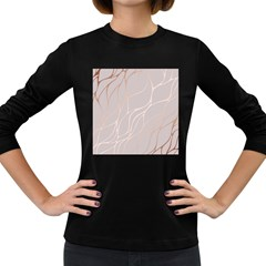 Rose Gold, Wave,beautiful,feminine,chic,elegant,metallic,modren,wedding,pink,trendy Women s Long Sleeve Dark T Shirts by 8fugoso