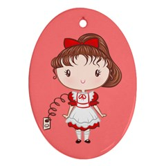 Robot Girl Cutie Oval Ornament by Ellador