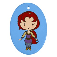 Princess On A Quest Cutie Oval Ornament by Ellador
