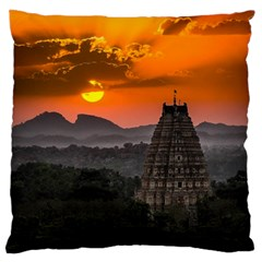 Beautiful Village Of Hampi Large Flano Cushion Case (one Side) by Celenk