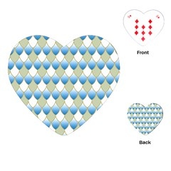 Squama Fish Blue Pattern Playing Cards (heart)  by Cveti