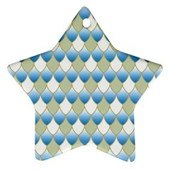 Squama Fish Blue Pattern Star Ornament (two Sides) by Cveti