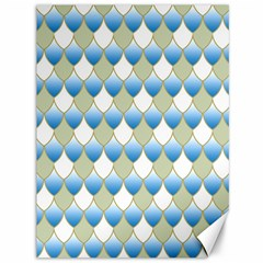 Squama Fish Blue Pattern Canvas 36  X 48   by Cveti