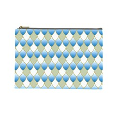 Squama Fish Blue Pattern Cosmetic Bag (large)  by Cveti