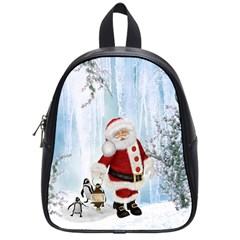 Santa Claus With Funny Penguin School Bag (small) by FantasyWorld7