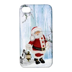 Santa Claus With Funny Penguin Apple Iphone 4/4s Hardshell Case With Stand