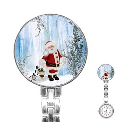 Santa Claus With Funny Penguin Stainless Steel Nurses Watch by FantasyWorld7