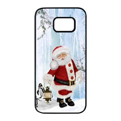 Santa Claus With Funny Penguin Samsung Galaxy S7 Edge Black Seamless Case by FantasyWorld7