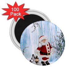 Santa Claus With Funny Penguin 2 25  Magnets (100 Pack)  by FantasyWorld7