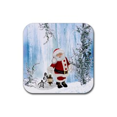 Santa Claus With Funny Penguin Rubber Square Coaster (4 Pack)  by FantasyWorld7