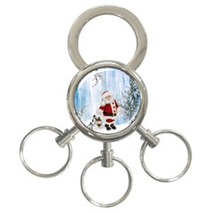 Santa Claus With Funny Penguin 3 Ring Key Chains by FantasyWorld7