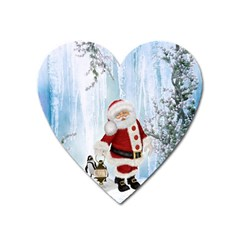 Santa Claus With Funny Penguin Heart Magnet by FantasyWorld7