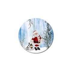 Santa Claus With Funny Penguin Golf Ball Marker