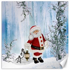 Santa Claus With Funny Penguin Canvas 20  X 20   by FantasyWorld7