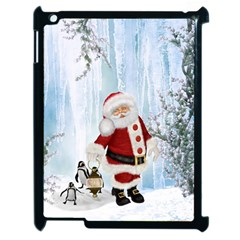 Santa Claus With Funny Penguin Apple Ipad 2 Case (black) by FantasyWorld7