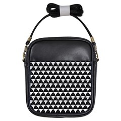 Diamond Pattern Black White Girls Sling Bags by Cveti