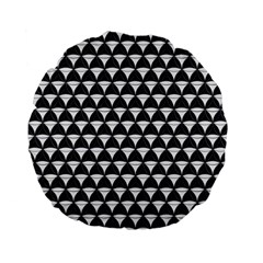 Diamond Pattern Black White Standard 15  Premium Flano Round Cushions by Cveti