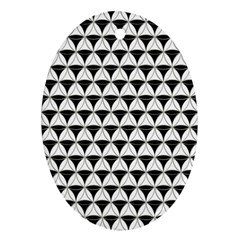 Diamond Pattern White Black Oval Ornament (two Sides) by Cveti