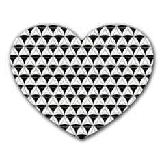 Diamond Pattern White Black Heart Mousepads by Cveti