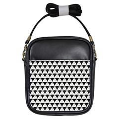 Diamond Pattern White Black Girls Sling Bags by Cveti